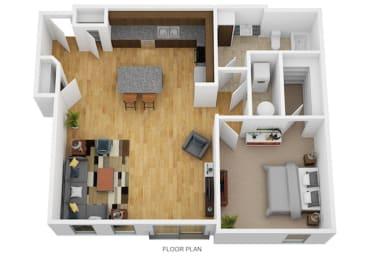 1 Bedroom E 1 Bath Floor Plan at Monmouth Row Apartments, Newport, Kentucky