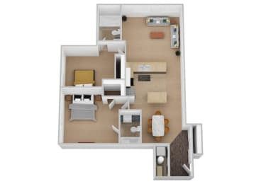 The Voltaire Two Bed Two Bath Floor Plan at Renaissance at the Power Building, Cincinnati, Ohio
