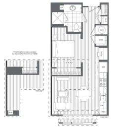 Floor Plan  1A Floor Plan at Platt Park by Windsor, Denver, Colorado
