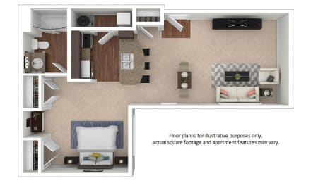 Floor Plan  Studio_21E_686sf floor plan at The District, CO, 80222