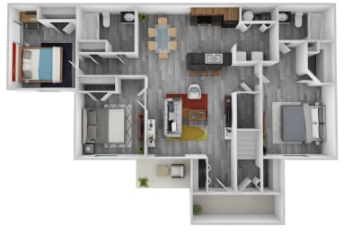 Floor Plan Three Bedroom, Two Bath