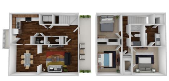 Floor Plan 3 Bedroom, 2.5 Bath Small