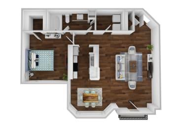 Floor Plan A2 - 1 Bedroom with Sunroom