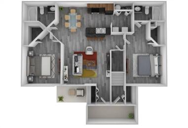 Floor Plan Two Bedroom, Two Bath