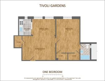 One Bedroom Floor Plan 710 sqft