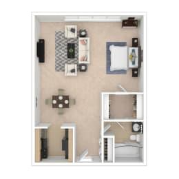 Studio A Floor Plan Image 540 sq ft