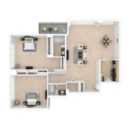 2 bedroom floor plan image 1348-1564 sq ft