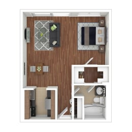 Colesville  Towers Apartments  Studio bedroom floorplan 560 sq ft