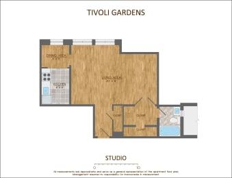 Studio Apartment Floor Plan 490 Sqft