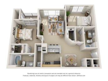 The Cedar Floor Plan at Haven North East, Atlanta, GA, 30340