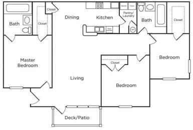 Floor Plan 3 Bed - 2 Bath