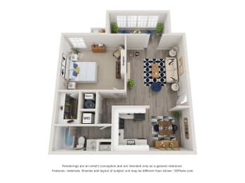 Twin Springs Apartments, Norcross Georgia, A1 3D floorplan