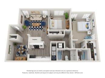 Twin Springs Apartments, Norcross Georgia, A2 3D floorplan