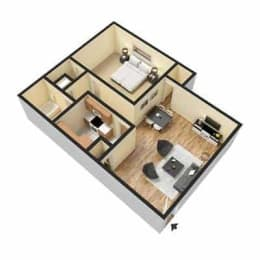 Fox Hill Apartments, Hampton Virginia, 1x1 3D floorplan
