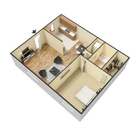 Retreat at Palm Pointe Apartments, North Charleston South Carolina, 1x1 3D floorplan