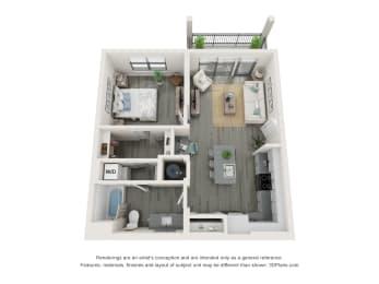 1 Bedroom 1 Bathroom Floor plan at The Charles, Destin, 32541