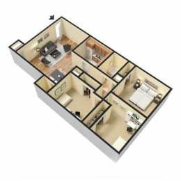Fox Hill Apartments, Hampton Virginia, 3x1 3D floorplan