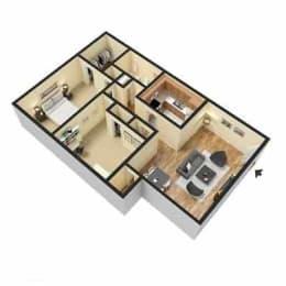 Fox Hill Apartments, Hampton Virginia, 2x1 3D floorplan