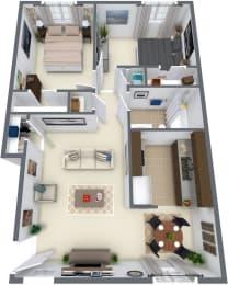 Village at Western Branch, Portsmouth Virginia, 2x1 3D floorplan