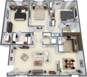 Village at Western Branch, Portsmouth Virginia, 3x1.5 3D floorplan