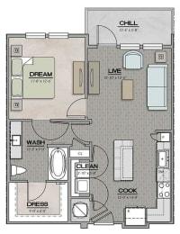 1 Bedroom 1 Bath Floor Plan at The Jamestown Apartment Flats, Richmond, VA, 23224