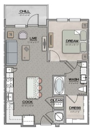 1 Bedroom 1 Bath A Floor Plan at The Jamestown Apartment Flats, Richmond, VA