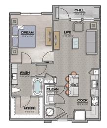 1 Bedroom A 1 Bath Floor Plan at The Louis, Kentucky, 40241
