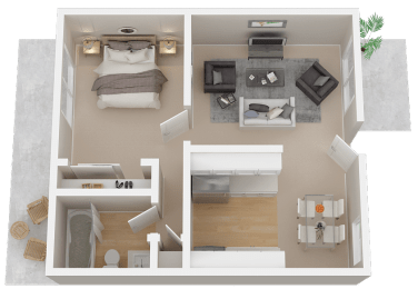 One-Bedroom Floor Plan at 1038 On Second, Lafayette, CA 94549