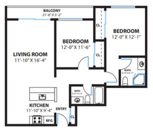 Two Bedroom Floor Plan at The Morgan, Lafayette, 94549