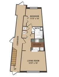 Floor Plan  Waterton Floor Plan at Crescent Centre Apartments, Louisville