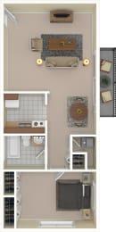 Floor Plan One Bedroom - Income Restricted