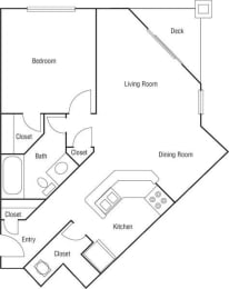 A1 - 1 Bedroom 1 Bath Floorplan Image 634 Sq. Ft.