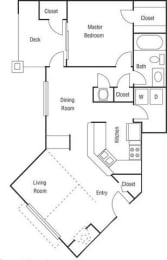 A2 - 1 Bedroom 1 Bath Floorplan Image 722 Sq. Ft.