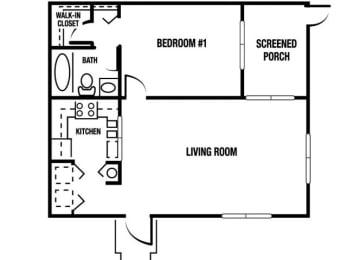 A1 - 1 Bedroom / 1 Bath - 820 Sq. Ft. Floor plan Image