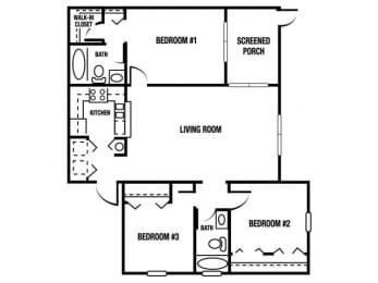 C1 - 3 Bedroom / 2 Bath - 1,185 Sq. Ft. Floor plan Image
