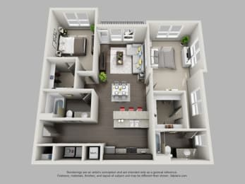 2 Bed 2 Bath Floor Plan at Heritage at Oakley Square, Ohio