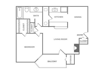 1 Bedroom 1 Bathroom Floor Plan at The Glen, Lewisville, TX, 75067