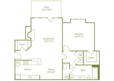 1 Bed 1 Bath Floor Plan at Wynfield Trace, Georgia, 30092