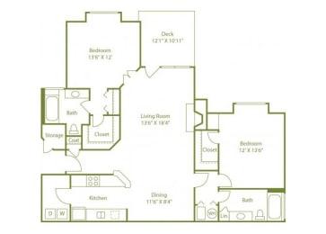 2 Bed 2 Bath Floor Plan at Wynfield Trace, Peachtree Corners, GA