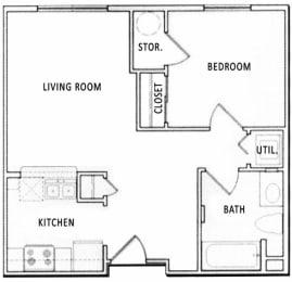 Floor Plan  1 Bedroom 1 Bathroom Floorplan