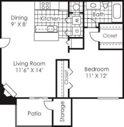 Floor Plan  1 bed 1 bath floor plan Albemarie