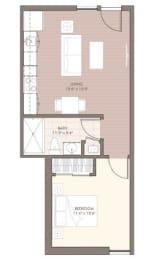Floor Plan  East Village Flats One Bed Floor Plan