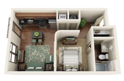 Floor Plan  Dillworth 1 Bed 1 Bath Floor Plan Park & Kingston Charlotte NC 28203