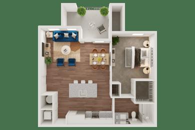 Birds-Eye View of a Floor Plan at Ironridge's Apartments in San Antonio, TX