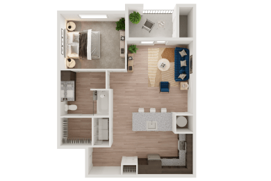 Aerial View of a Floor Plan at Ironridge's Apartments in San Antonio, TX