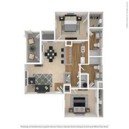 B1 Floor Plan at Savoy of Garland Apartments, CLEAR Property, Garland, 75043