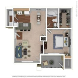 A1 Floor Plan at River Oaks Apartments, CLEAR Property, Wylie, TX, 75098