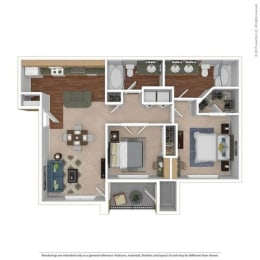 B1 Floor Plan at River Oaks  Apartments, CLEAR Property, Wylie, TX