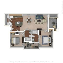 B2 Floor Plan at River Oaks Apartments, CLEAR Property, Wylie, 75098