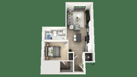 One Bedroom Floor Plan at Apex Apartments, Arlington, VA, 22206